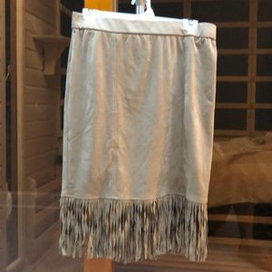 Faux suede skirt with fringe